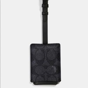 Coach Luggage Tag In Signature Canvas Charcoal